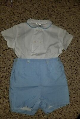 2472411f5 New Infant Boy Sailor Suit Romper 6-12 Months, White Blue, Birthday •