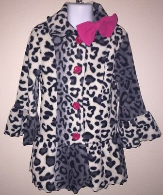 $16.99 • Buy Girls Mack & Co. Coat Size 4T Leopard Print With Pink Bow EUC