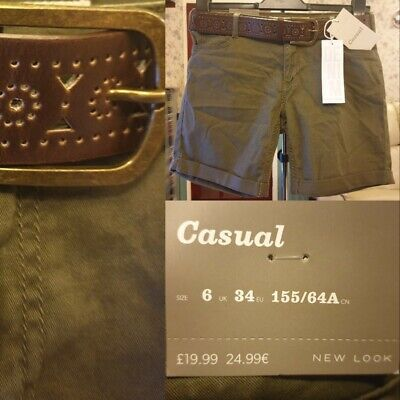 New Look Casual Safari Belted Green Denim Shorts UK 6 Summer Festival New Tags • 8.99£