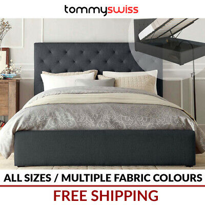 AU319 • Buy TOMMY SWISS: King Queen Double Size Gas Lift Storage Fabric Bed Frame - Diamond