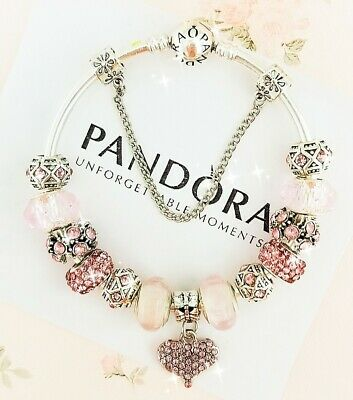 4fe7450f1 Authentic Pandora Bracelet Silver Bangle With Love Heart European Charms  New • 89.00$