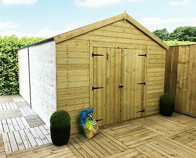 16 X 10 WINDOWLESS Pressure Treated T&G Wooden Workshop Shed With Double Doors • 2,707.10£