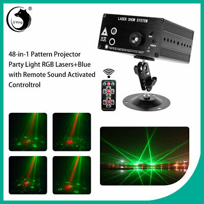 Laser Projector 48 Pattern Stage Lights LED RGB Lighting Party Disco DJ W/Remote • 28.49$