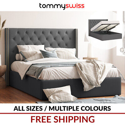 AU399 • Buy Extra Tall 125cm Gas Lift Storage Fabric Bed Frame King Queen & Double - Giselle