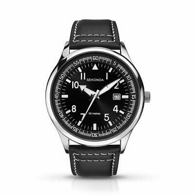 £24.99 • Buy Sekonda Mens Watch With Black Dial And Black Leather Strap 1461
