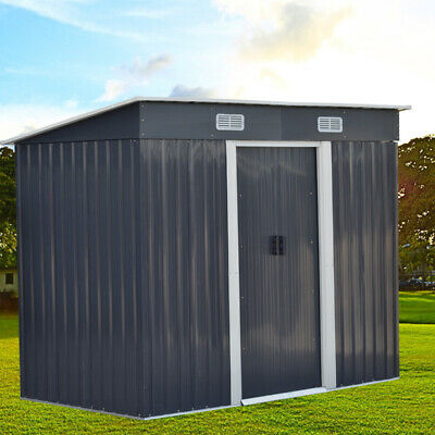 4X8ft Metal Garden Shed Outdoor Storage Bike Bicycle Store Sheds House FREE Base • 269.95£