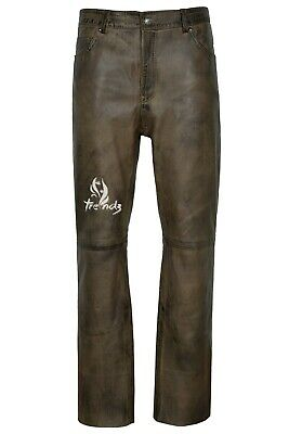£100 • Buy Men's Real Leather Trouser Dirty Brown Napa Classic Fashion Biker Style 501