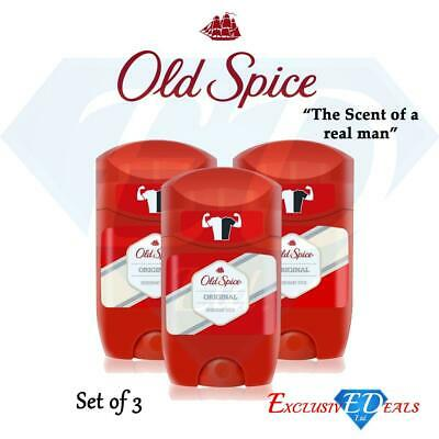 3 X Old Spice Original Deodorant Stick Fresh Mens Odour Free Roll On 50ml • 9.45£