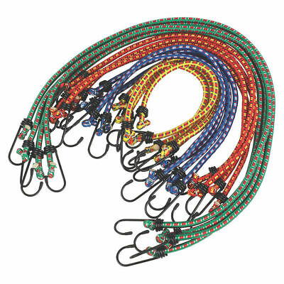 £8.99 • Buy 12 Pack Bungee Cords Wires With Zinc Hooks Cables Straps Bungie Elastic Rope
