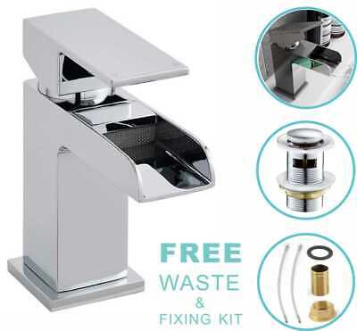£25.99 • Buy Square Waterfall Bathroom Tap Basin Sink Mono Mixer Chrome Cloakroom +Free Waste