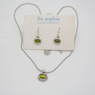 $ CDN10.44 • Buy Lia Sophia Women Jewelry Silver Tone Cute Lovely Earrings Necklace Pendant Opal
