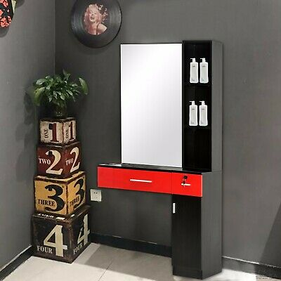$264.60 • Buy Locking Wall Mount Hair Styling Barber Station Black&Red Right Shelf