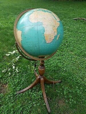 """40  Tall Rare Vintage Crams Celestial Globe 16""""  Wooden Carved Stand LIGHTS UP.  • 300$"""