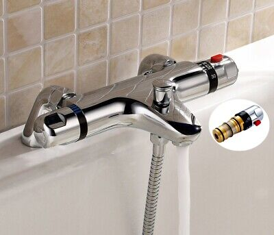 Chrome Thermostatic Bath Shower Mixer Tap Valve Deck Mounted Bathroom Filler • 44.95£