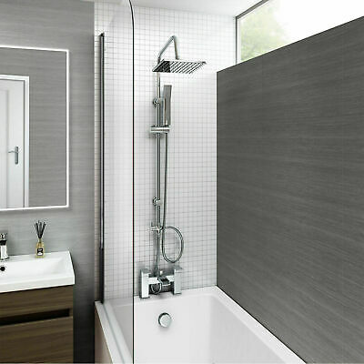 £119.95 • Buy Chrome Waterfall Bath Shower Mixer Tap With 3 Way Square Rigid Riser Shower Kit
