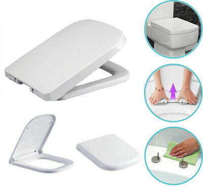 £21.95 • Buy Luxury Square Toilet Seat Heavy Duty White Soft Close Top Quick Release Hinges