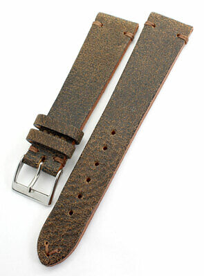 AU53.86 • Buy 20mm Vintage Handmade GERMANY Calf Leather Quality Retro Look Watch Band 20/16mm