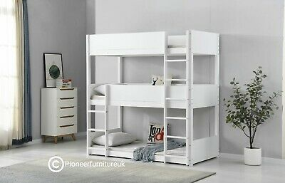 Bunk Bed Wooden Frame Triple Sleeper Children 3ft Adult 3 Tier Bunk Bed Pine • 299.95£