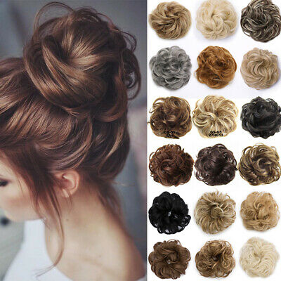 AU15.51 • Buy Natural Messy Bun Scrunchie Thick Hair Peice Curly Chignon Updo Hair Extension 5