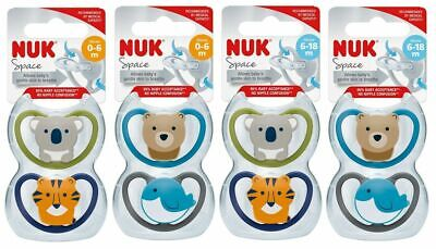 AU13.25 • Buy NUK Space Soother Size 1 (0-6m), Size 2 (6-18m) Silicone 2 Pack