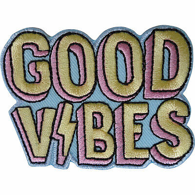 Good Vibes Patch Iron Sew On Clothes Bag Embroidered Badge Embroidery Applique • 2.79£