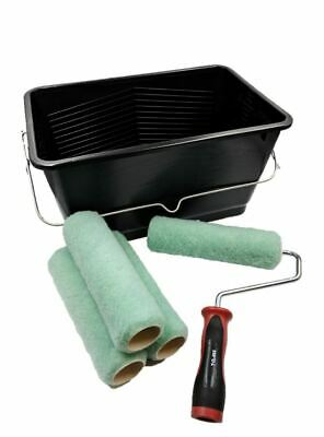 6pc Paint Kettle Roller Tray 9  Sleeves & Frame Set 15L Scuttle Bucket Lid • 14.79£