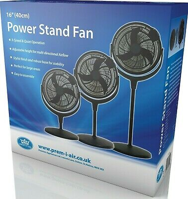 Prem-I-Air 12  & 16  Power Stand Pedestal Fan With 7 Hour Timer & Remote Control • 49.99£