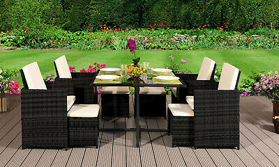 9 11 13 Piece Rattan Garden Cube Set Chairs Sofa Table Outdoor Patio Furniture • 999.99£
