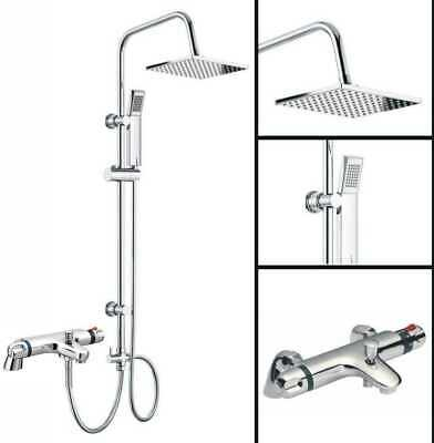 Bathroom Shower Mixer Tap Chrome Thermostatic With 3 Way Square Riser Shower Set • 79.95£