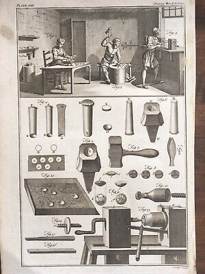 £25 • Buy 18th Century Metal Buttons Engraving Print Button Making Industry