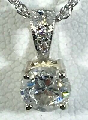 "$750 • Buy .75 Ct NATURAL Round  DIAMOND Solitaire Pendant  18k White GOLD & 18"" Necklace"
