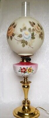 $ CDN177.61 • Buy ANTIQUE VICTORIAN OIL Parlor Lamp GWTW Hand Painted ROSES SHADE ELECTRIFIED