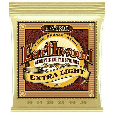 AU12.95 • Buy ERNIE BALL 2006 Acoustic Guitar Strings EARTHWOOD 80/20 Extra Light 10-50