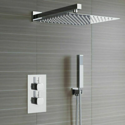 £119.99 • Buy Concealed Shower Mixer Thermostatic Valve 300mm Over Head With Rail Bathroom Set