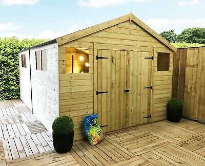16 X 10 Pressure Treated Tongue & Groove Wooden Workshop Shed With Double Doors • 2,707.10£