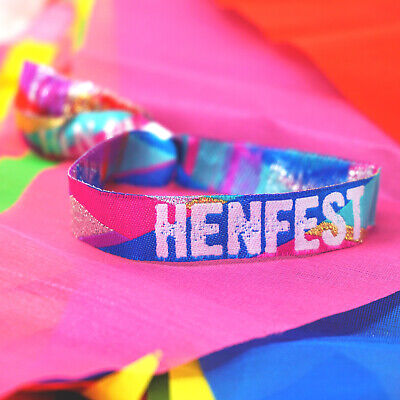 HENFEST (Multi-Coloured) Hen Party Wristbands / Festival Hen Do Party Favours • 1£