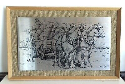 Stainless Steel  Etching. Shire Horses And Wheat Sheaf Cart     (nc) • 6£