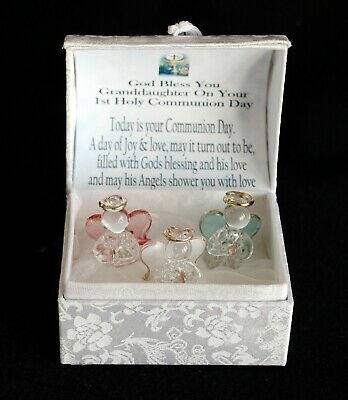 Granddaughter 1st Holy Communion Gift Crystal Glass Angel Poem Box #10 • 19.99£