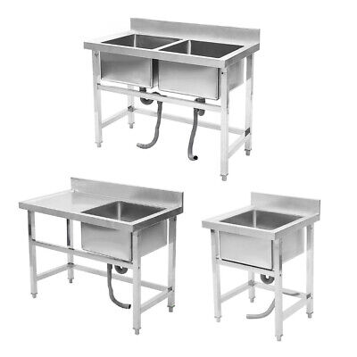 Commercial Catering Deep Sink Stainless Steel Single/Double Bowl Kitchen Drainer • 179.95£