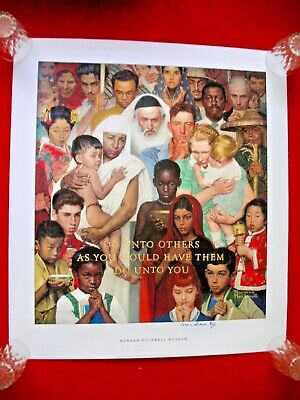 $ CDN400.01 • Buy GOLDEN RULE NORMAN ROCKWELL SIGNED MODEL PRINT Lithograph Poster Religion Bible