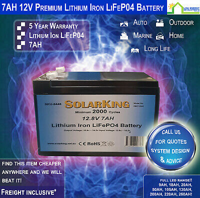 AU61.95 • Buy 12V 7ah Lithium Ion LiFePo4 Deep Cycle Rechargeable Battery - Free Freight