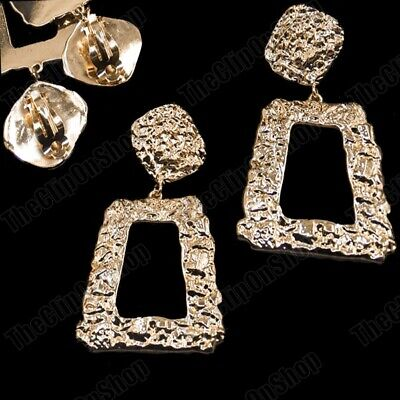 £4.99 • Buy 3 Long CLIP ON EARRINGS Drop BIG SQUARE ROCK TEXTURED GOLD FASHION Vintage Retro