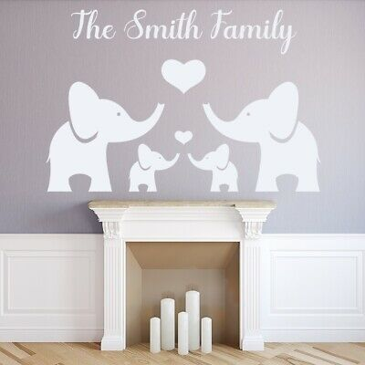 £9.99 • Buy Personalised Name Elephant Family Wall Sticker WS-51200