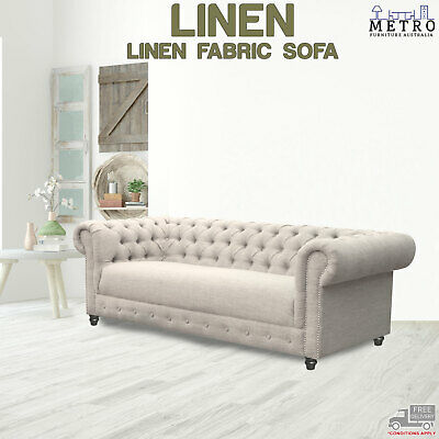 AU2198.70 • Buy 3,2,1 Seater Sofa Linen Fabric Tufted Button Living Room Furniture,Moon Light