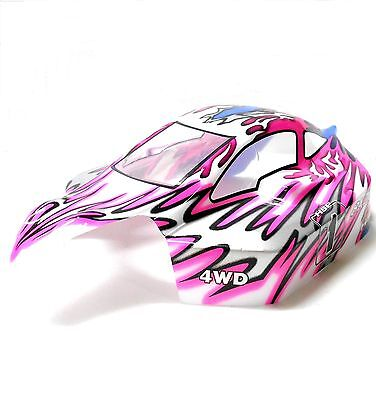 81346 Off Road Nitro RC R/C 1/8 Scale Buggy Body Shell Cover Flame Pink White • 17.09£