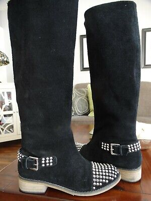 $ CDN62 • Buy KELSI DAGGER Rover Black Suede Studded Cap-toe Knee High Boot 7
