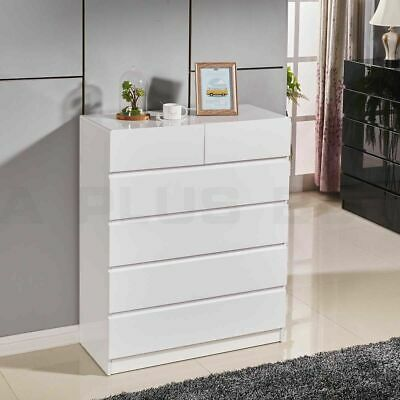 AU219.99 • Buy New 105CM High Gloss 6 Drawer Wooden Tallboy Cabinet Chest Of Drawers White 35W