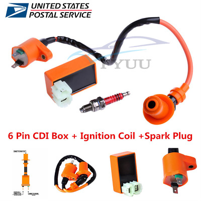 Racing 6 Pin CDI+Ignition Coil+Spark Plug For GY6 50cc 125cc 150cc Moped Scooter • 13.85$