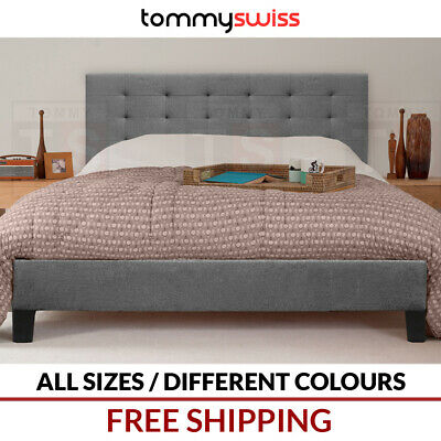 AU199 • Buy Tufted Designer Bed Frame In King Queen & Double Size Charcoal Grey Beige Fabric