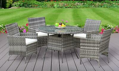 £449.99 • Buy PRE-SALE 5PC Rattan Dining Set Garden Patio Furniture - 4 Chairs & Round Table